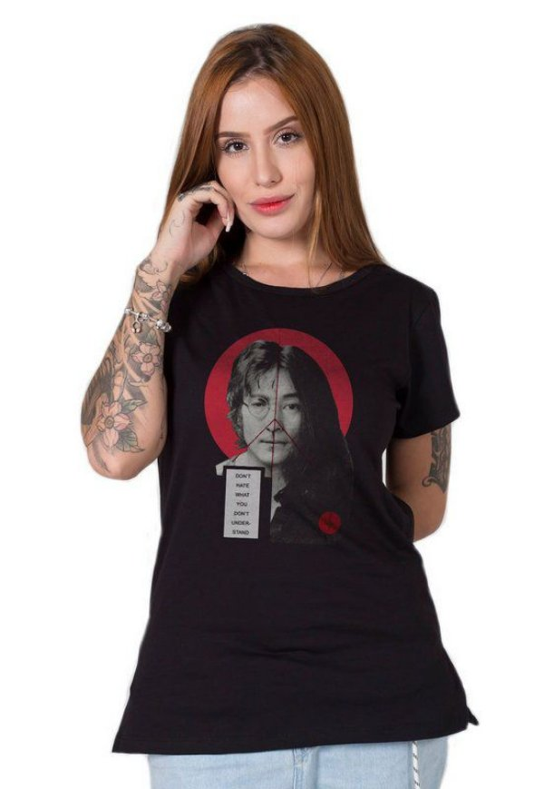 Camiseta Feminina John Lennon & Yoko Collage