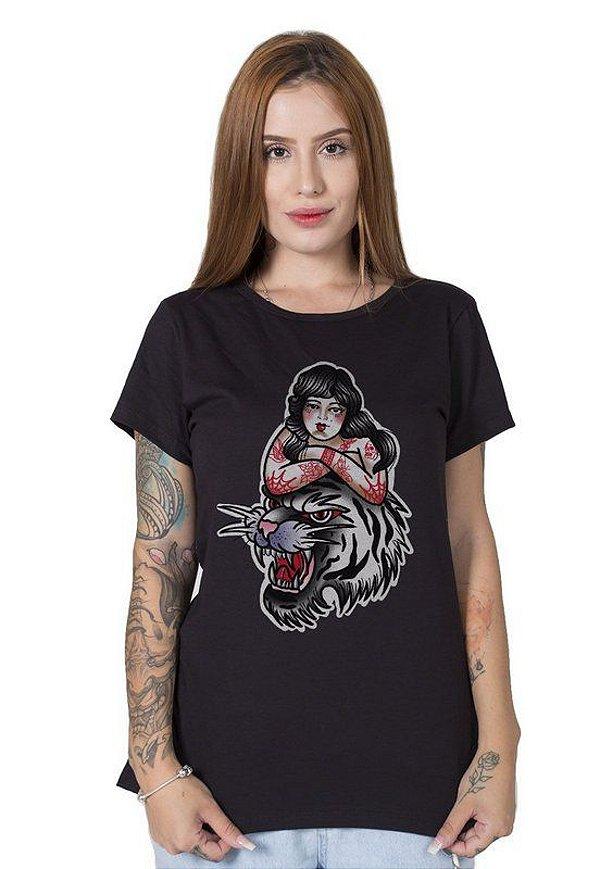 Camiseta Feminina Pin-Up Tiger