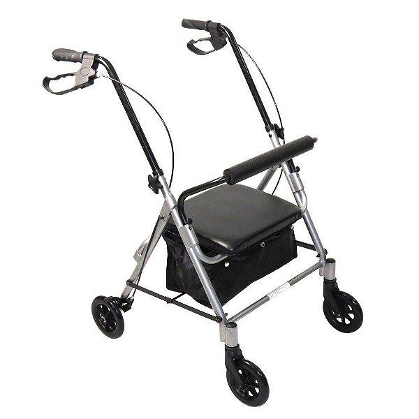 Andador 4 Rodas com Assento e Cesta