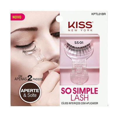 Cílios Postiços Inteiriços com Aplicador So Simple Lash 01 Kiss New York