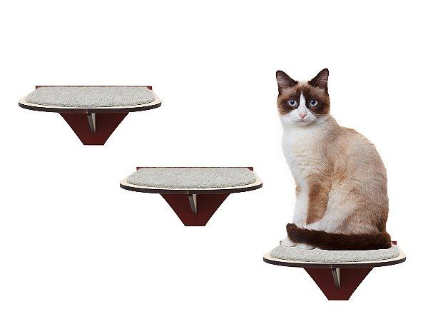 Kit 3 Degraus de Parede para Gatos Vermelho