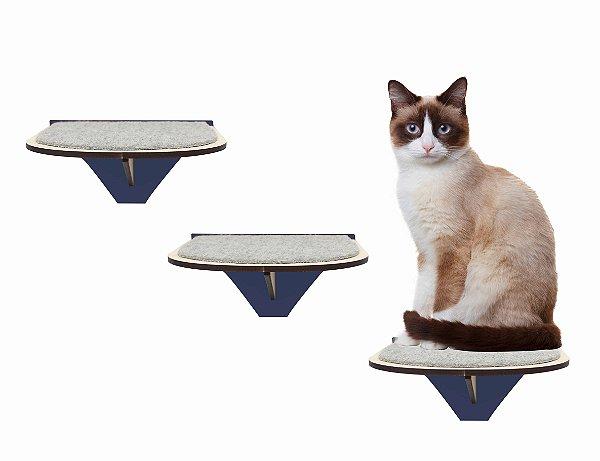 Kit 3 Degraus de Parede para Gatos Azul