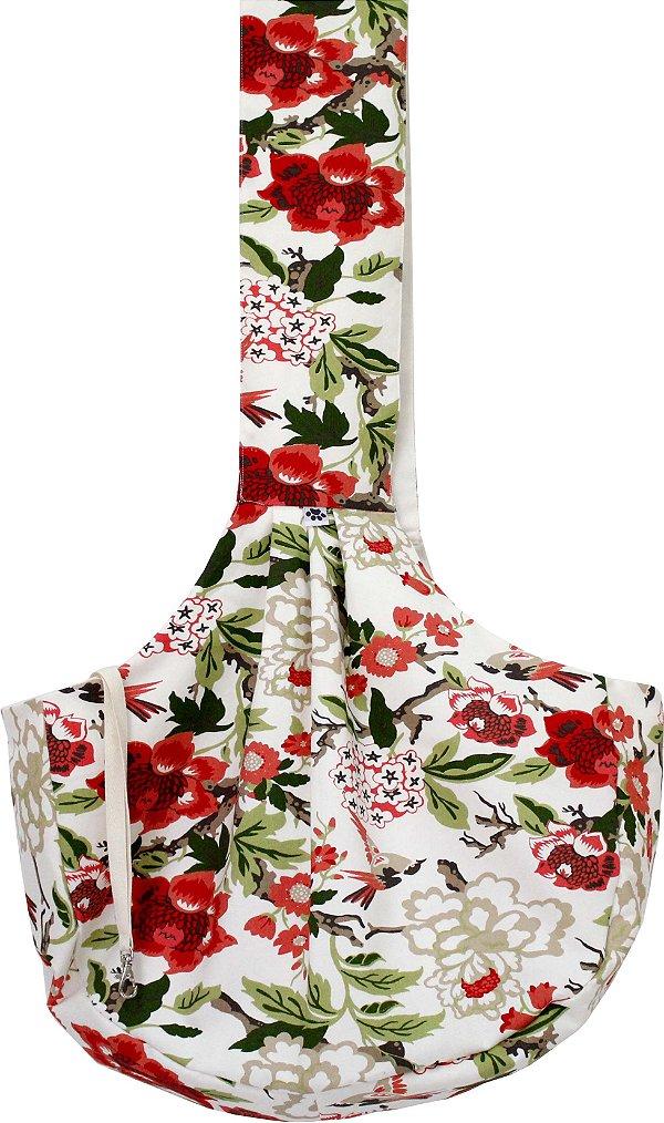 Bolsa Sling para Cães- Estampa Floral Vermelho