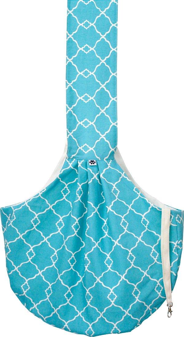 Bolsa Sling para Pets- Estampa Azul Geometrico
