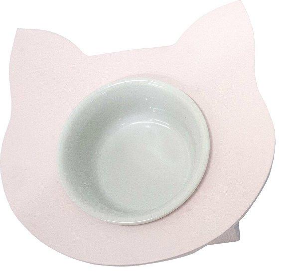 Comedouro Cara de Gato Rosa