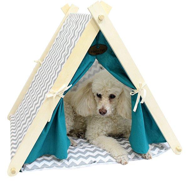 Cabaninha para Cães e Gatos - Cinza/Menta