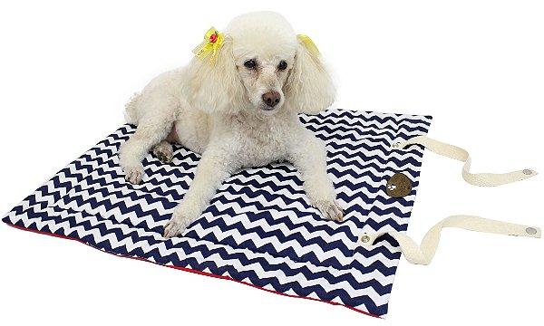 Colchonete Chevron para Cães - marinho/vermelho