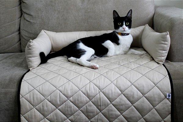 Protetor de Sofá Pet - Para cães e Gatos - Bege/Preto