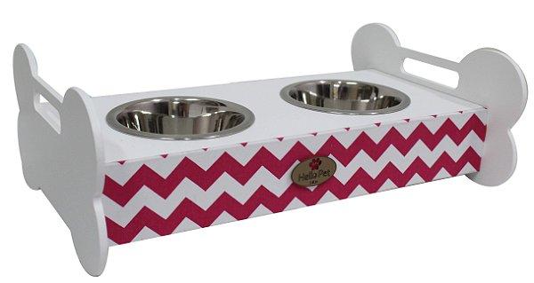 Comedouro Doggie Branco M- Chevron Pink