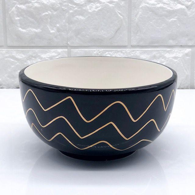 Bowl Black & Gold Onda