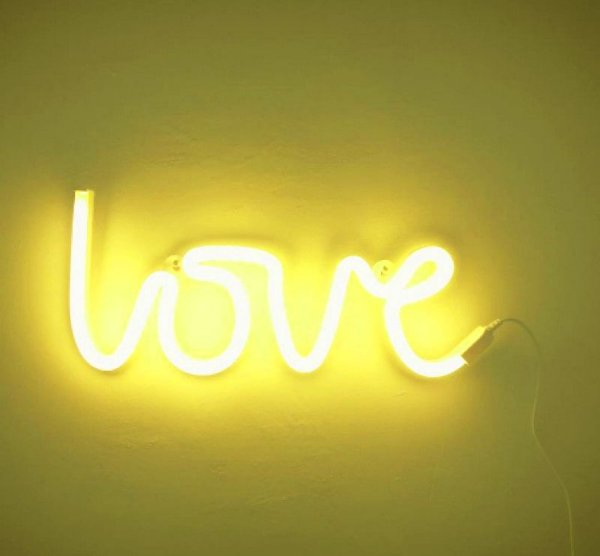 Love Neon Led Parede  Amarelo