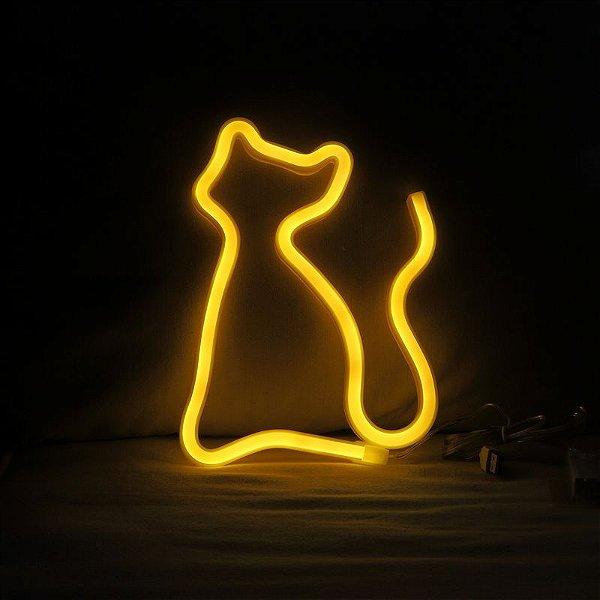 Gato Neon Led Parede  Amarelo