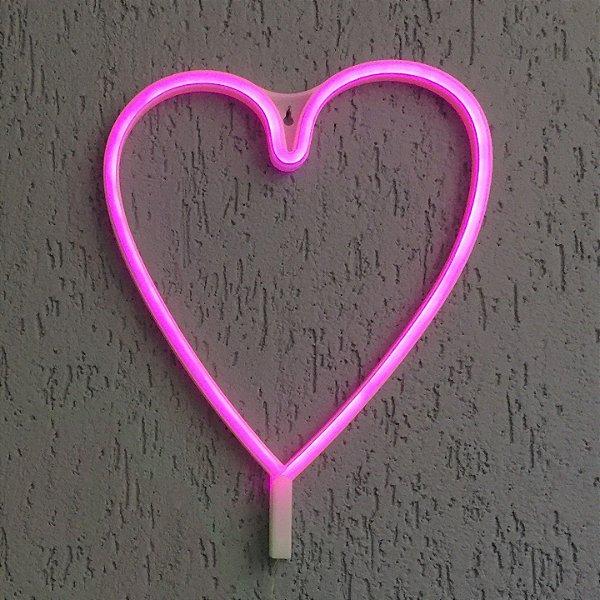 Coração Neon Led Parede Rosa