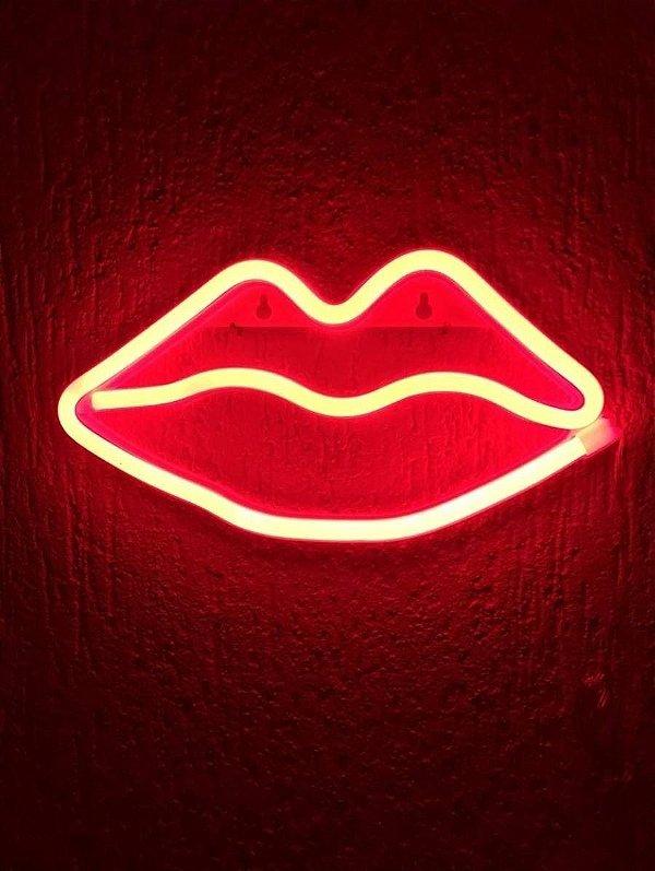 Boca Neon Led Parede Vermelha