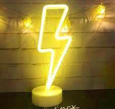 Raio Neon Led de Mesa Amarelo