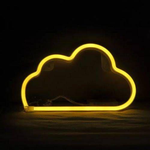 Nuvem Neon Led Parede  Amarelo