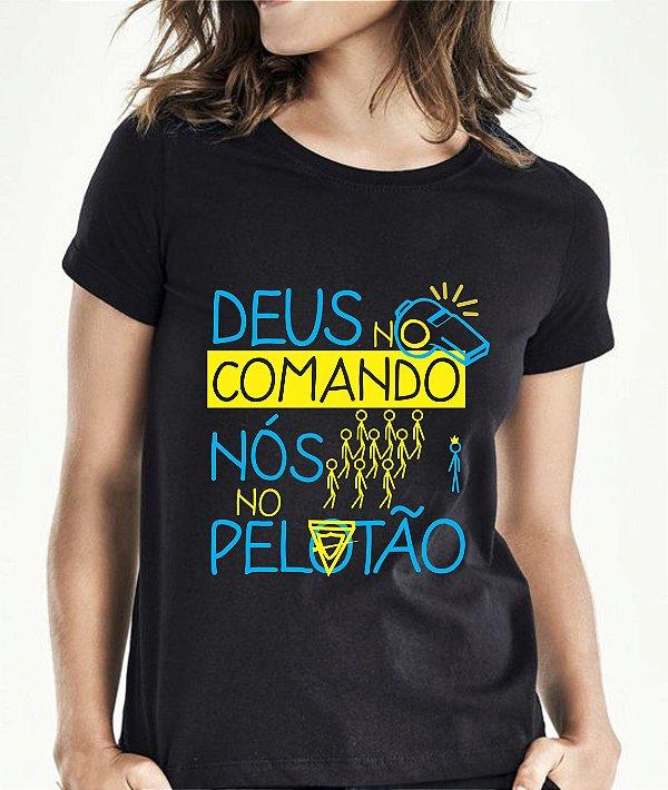 ddcea8be4f Camiseta Deus no Comando - Baby look - DesbravanteStore