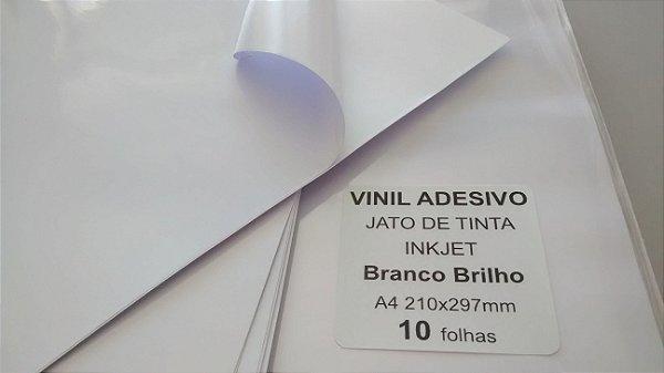 Vinil Adesivo Branco Brilho - Jato de Tinta - A4 - 210x297mm