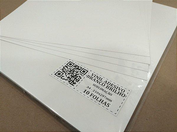 Vinil Adesivo Branco Brilho - Sublimação - A4 - 210x297mm