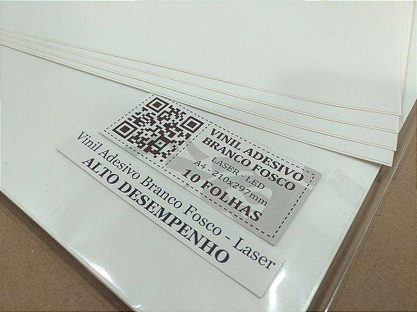 Vinil Adesivo Branco Fosco - Laser - Alto Desempenho - A4 - 210x297mm
