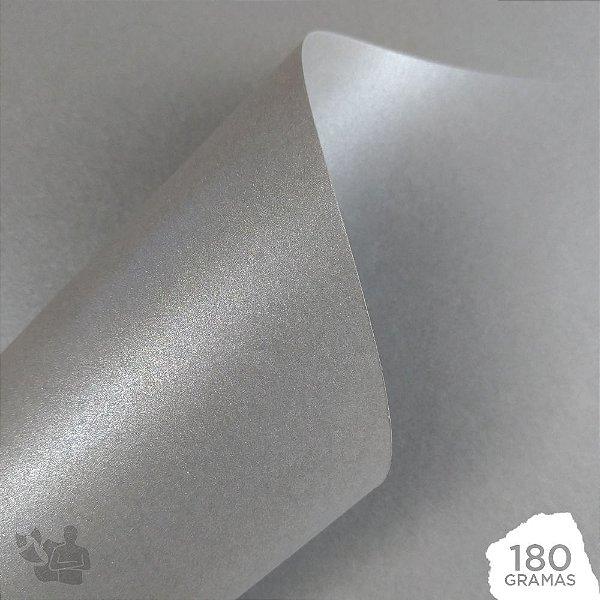 Papel Perolizado - Prata - Inox - 180g - A4 - 210x297mm