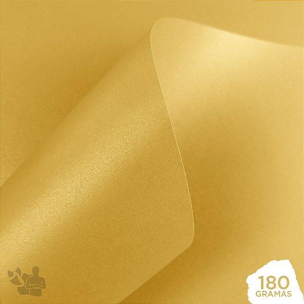 Papel Perolizado - Dourado - 180g - A4 - 210x297mm