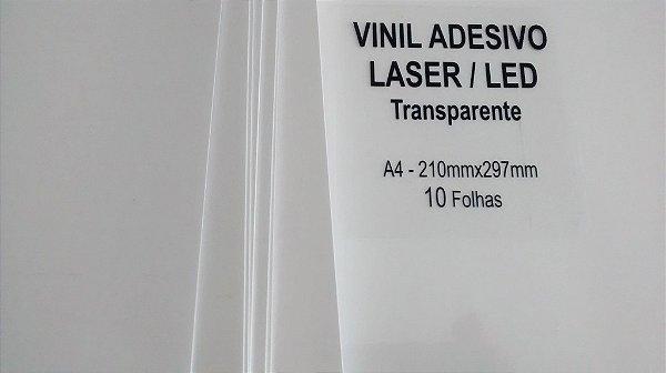 Vinil Adesivo Transparente - Laser - Tradicional - A4 - 210x297mm