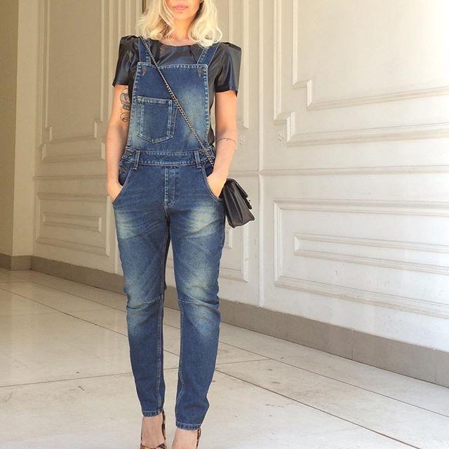 Jardineira Jeans Amanda - Bebela