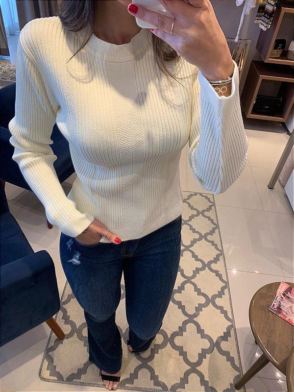 Blusa Tricô Canelado Mariana Off White