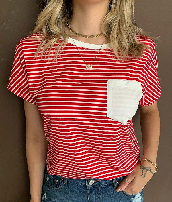 T-shirt Listrada Natália Vermelha