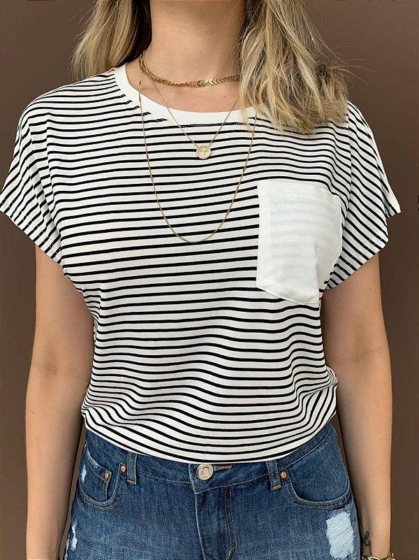 T-shirt Listrada Natália Preta