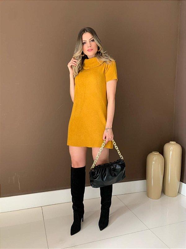 Vestido Tricot Color Mara Mostarda