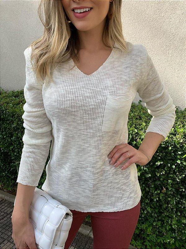 Blusa Tricô Milena Branca