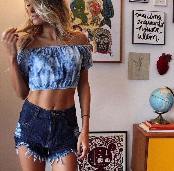 Shorts Jeans Hot Pant Escuro Lady Rock