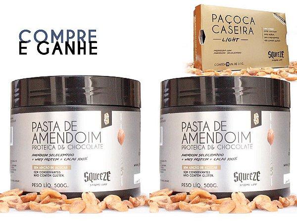 2x Pasta de amendoim Proteica de chocolate *ganhe Paçoca light
