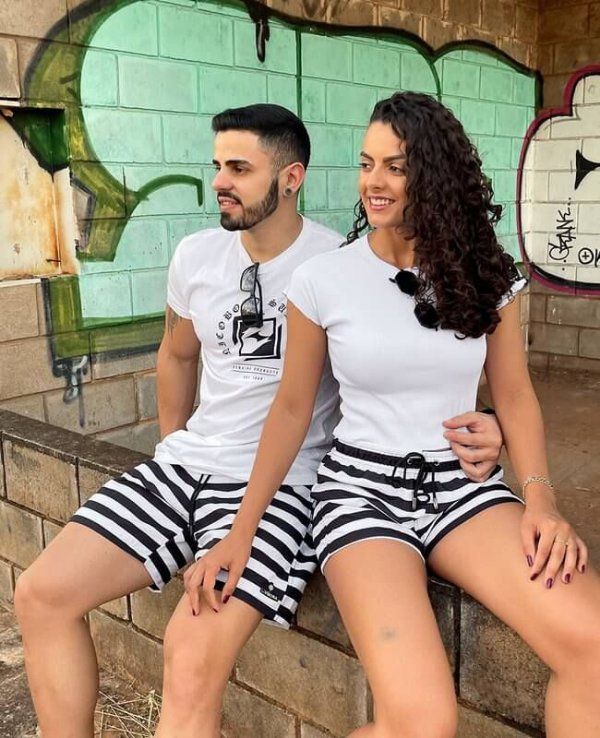 Shorts de Casal Praia Estampados LaVibora - Listrado