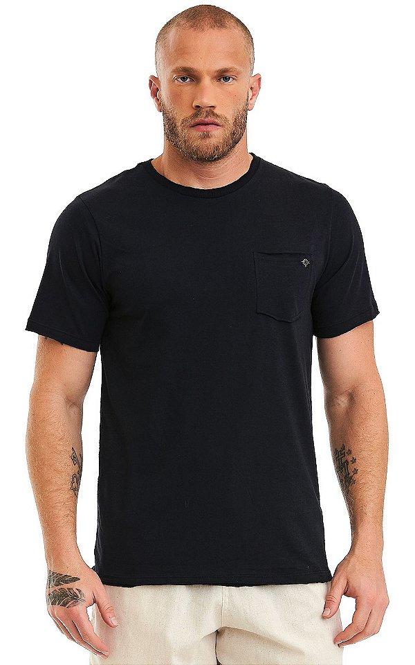 Camiseta Básica Masculina Bolso Destroyed 100% Algodão - Preta