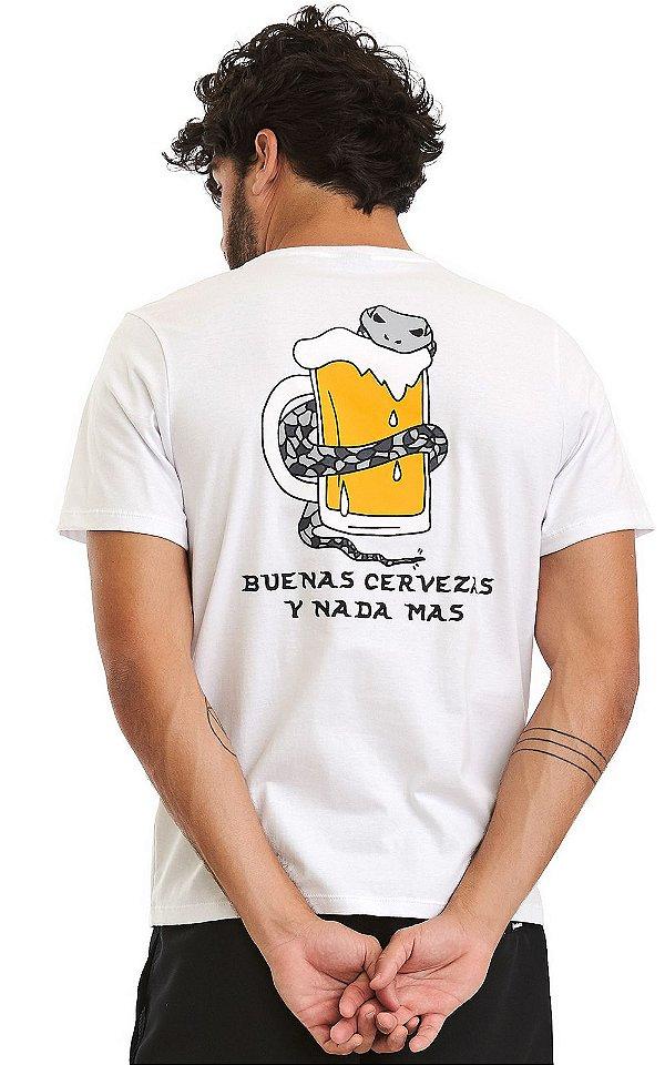 Camiseta Masculina Malha Algodão Estampada - Buenas Cervezas