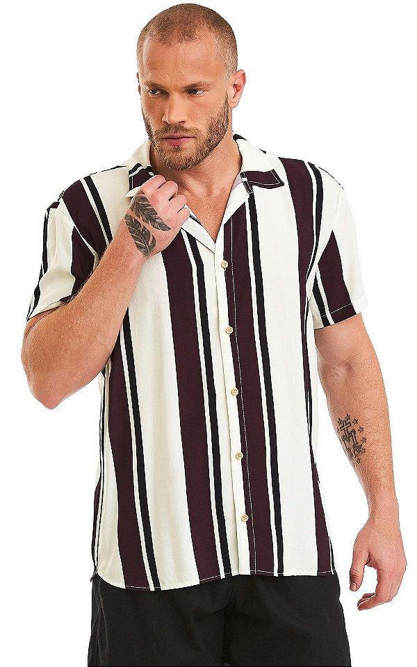 Camisa Masculina Estampada Manga Curta Viscose - Vintage