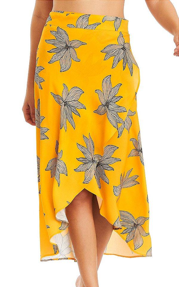 Saia Feminina Midi Envelope - Yellow