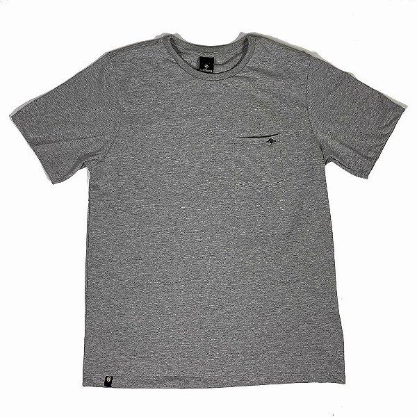 Camiseta Básica Masculina Bolso Destroyed 100% Algodão - Cinza Mescla