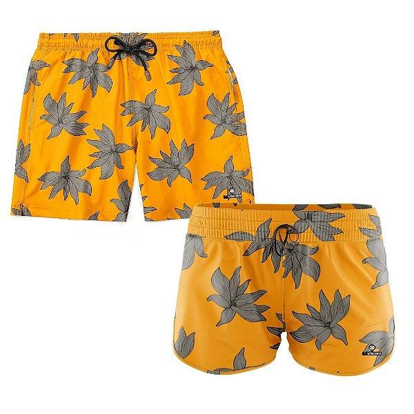 Shorts de Casal Praia Estampados LaVibora - Yellow