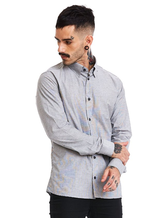 Camisa botonê Manga Longa - Gray
