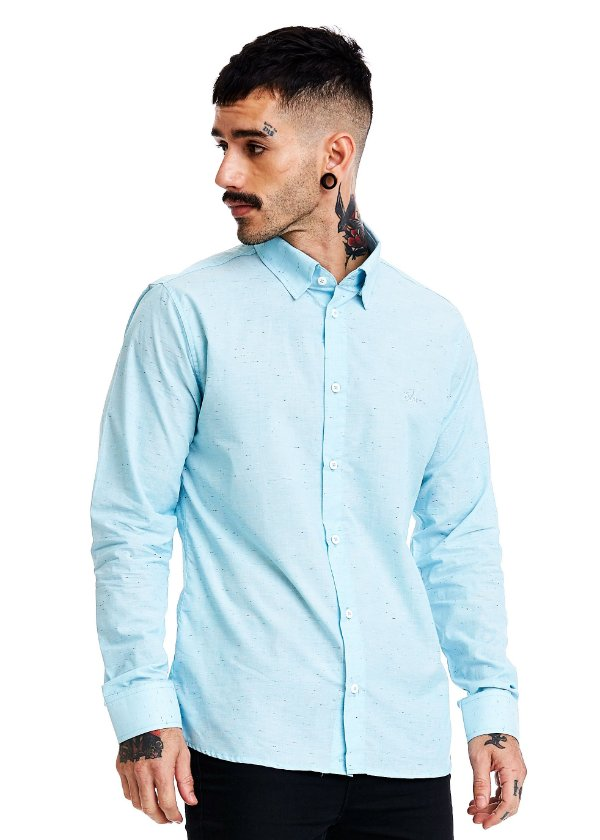 Camisa botonê Manga Longa - Blue