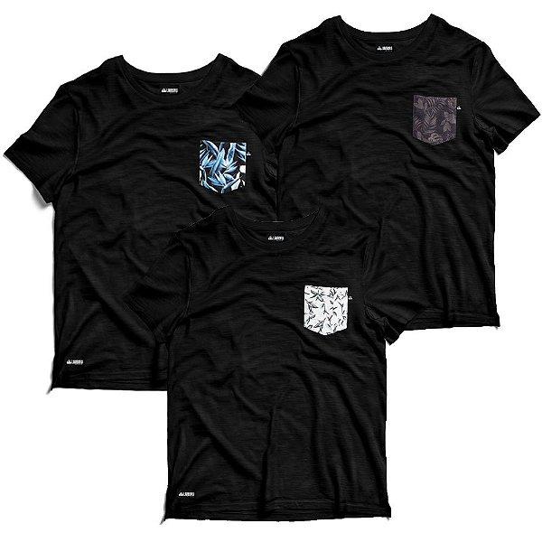 Kit 3 Camisetas De Algodão Fio 30.1 Bolso Estampado - Florais