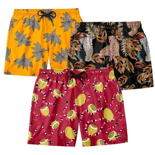 "Kit 3 Shorts ""Os Exclusivos"" - Snake, Yellow e Cheetah"