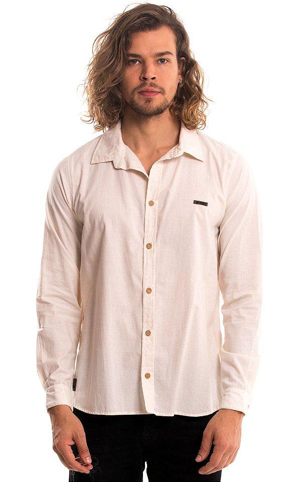 Camisa Masculina Manga Longa Viscolinho - Cru