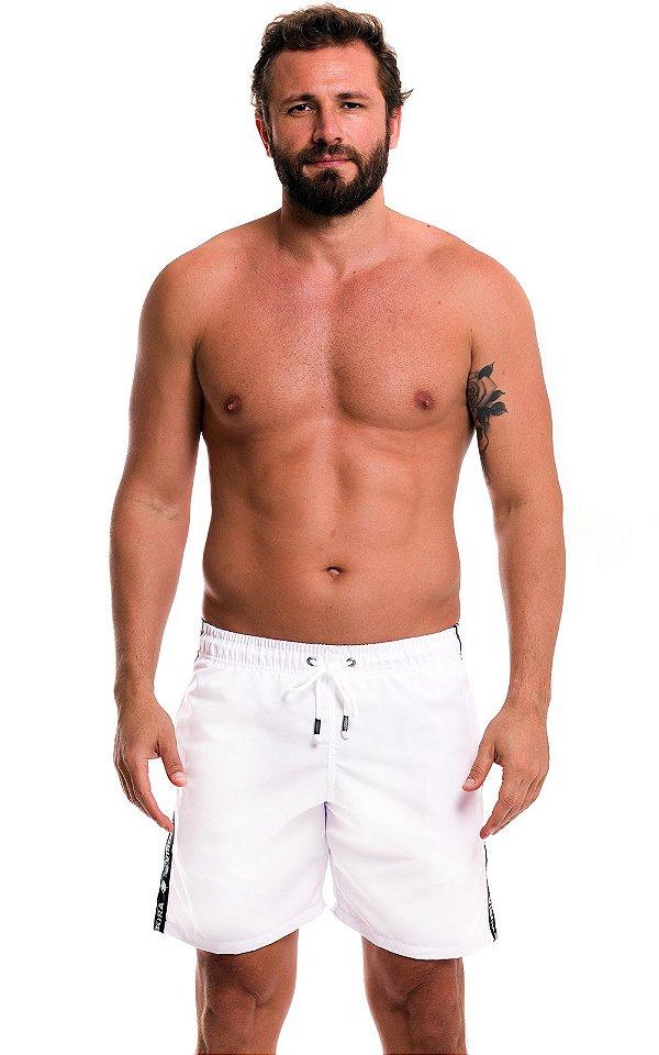 Shorts Praia Masculino Colorido LaVibora Com Faixa Lateral - Branco