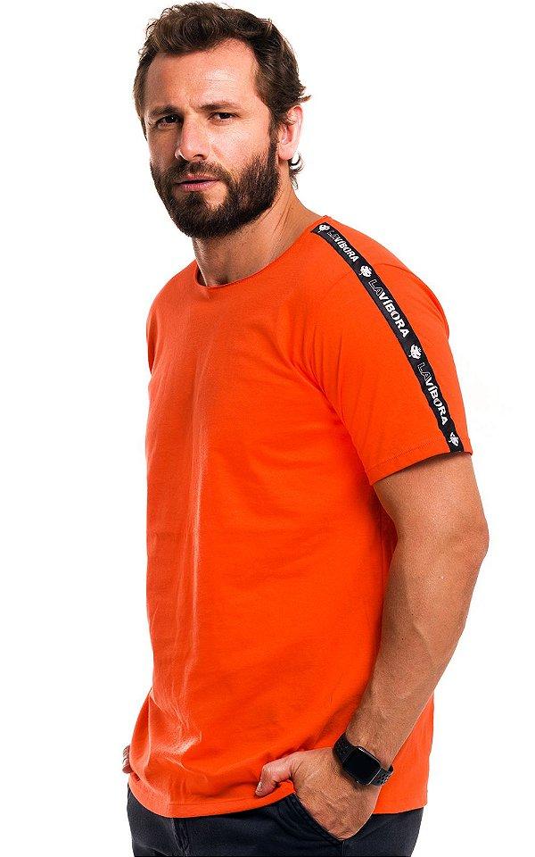 Camiseta Básica Masculina Faixa Lateral 100% Algodão LaVíbora - Laranja