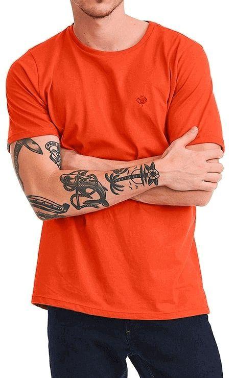 Camiseta Básica Masculina Bolso Liso 100% Algodão - Laranja